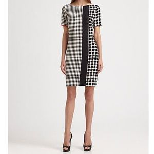 Akris Punto Black White Dot Shift Silk Dress